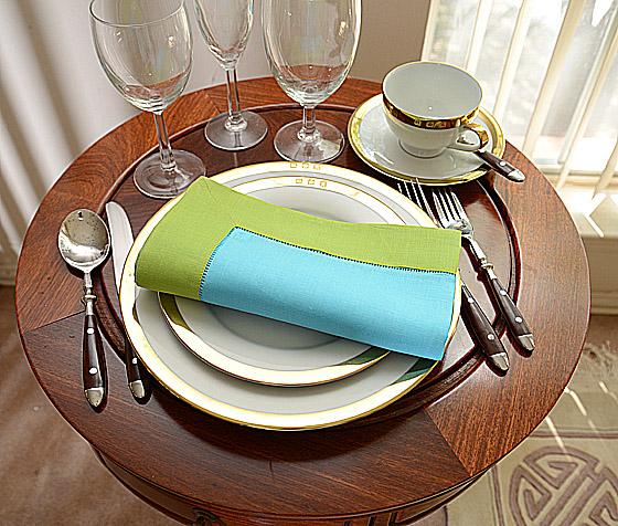 festive dinner napkin. Aqua with Bright Green color