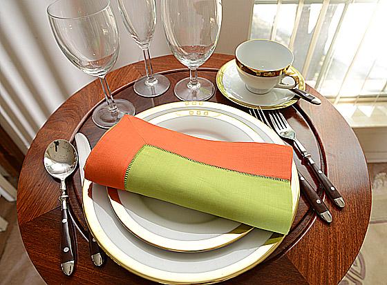 festive dinner napkin. Bright Green with Bright Orange color