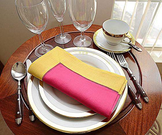 festive dinner napkins. Raspberry Sorbet with Lemon color