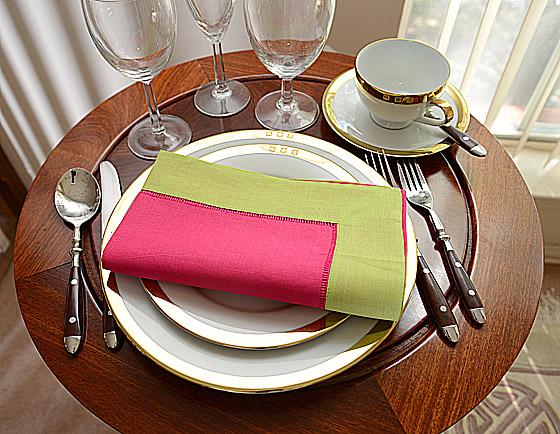 festive dinner napkin. Raspberry Sorbet with mellow green color