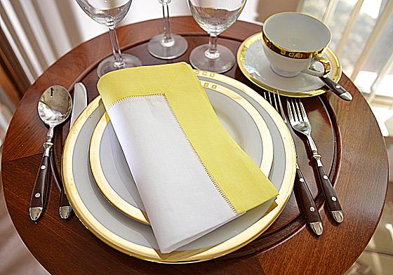 hemstitch festive dinner napkin, white and light yellow color
