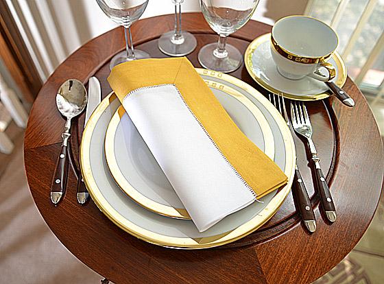 Hemstitch festive dinner napkin. white and honey gold color