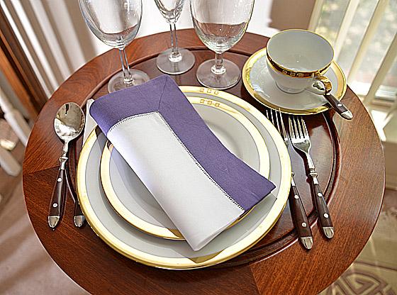 Hemstitch festive dinner napkin. white & purple color