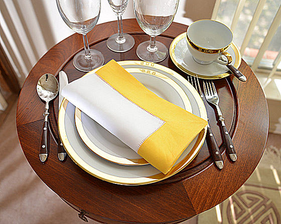 Hemstitch Festive Dinner napkin. White and Warm Yellow color