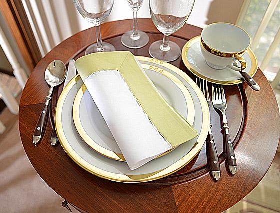 Hemstitch festive dinner napkins. white and light green color