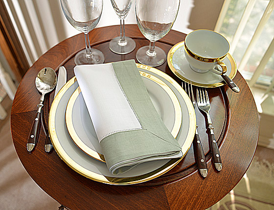 Hemstitch Festive Dinner napkins. White and Silver Gray color