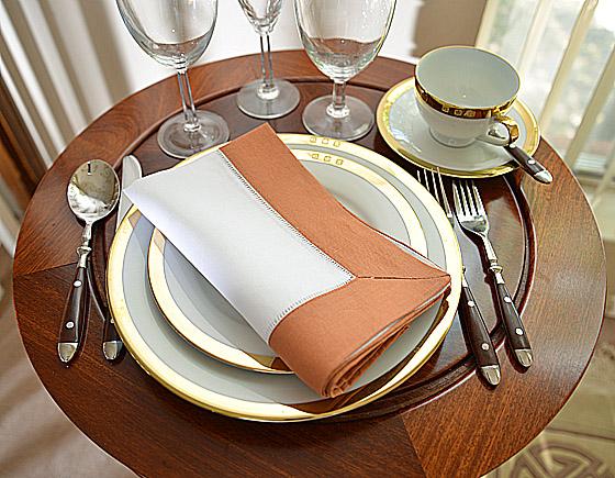 Hemstitch festive dinner napkin. burnt oragne color