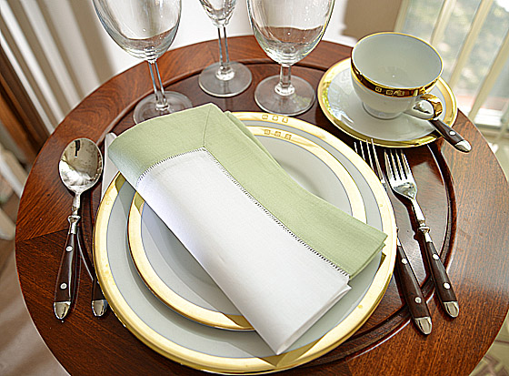 Hemstitch festive dinner napkin. light green color border