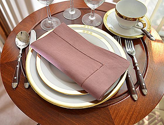 hemstitch festive dinner napkin. Apple-Butter color