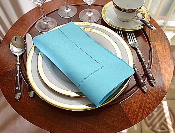 Hemsttich festive dinner napkin. Aqua ocean blue color