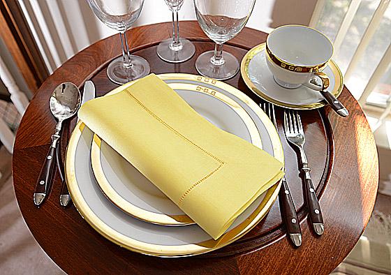 Hemstitch festive dinner napkin. Medium Yellow (Aurora) color
