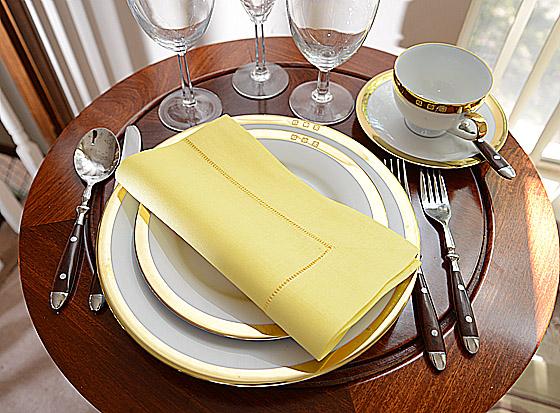 Hemstitch festive dinner napkin. light yellow color