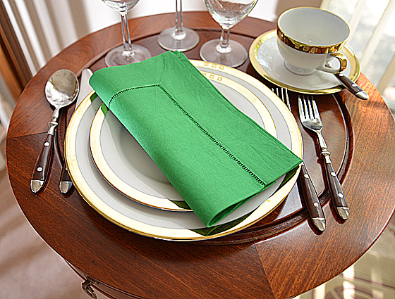 Hemstitch Festive Dinner napkins. Christmas Green color
