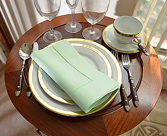 hemstitch festive dinner napkins. Pistachio color