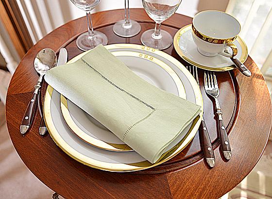 Hemstitch Festive Dinner napkin. Tender Green color
