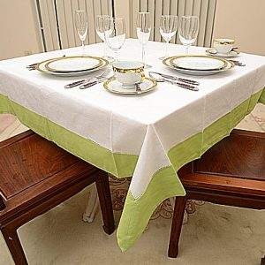 Hot Green Colored Trimmed 54″square tablecloth