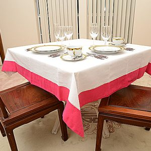 Hot Pink Colored Trimmed 54″square tablecloth.