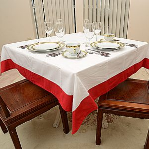 Red colored trimmed 54″ square tablecloth.