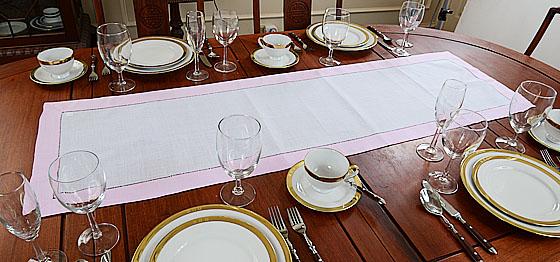 festive table runner. Light pink trims color