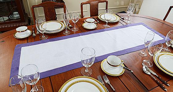 festive table runner. violet color trims