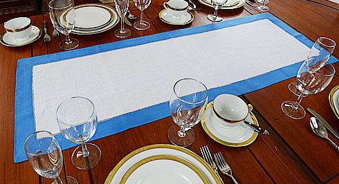 Marina Blue Border Hemstitch Table Runner