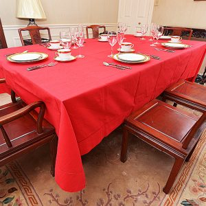 "Festive Dining room tablecloth, rectangular size, 70x144"" red color"