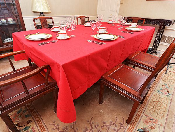 """Hemstitch Festive Dining room tablecloth, rectangular size, 70x144"""" red color"""
