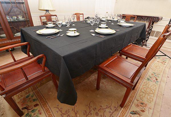 festive Black long rectangular tablecloth, dinning room tablecloth