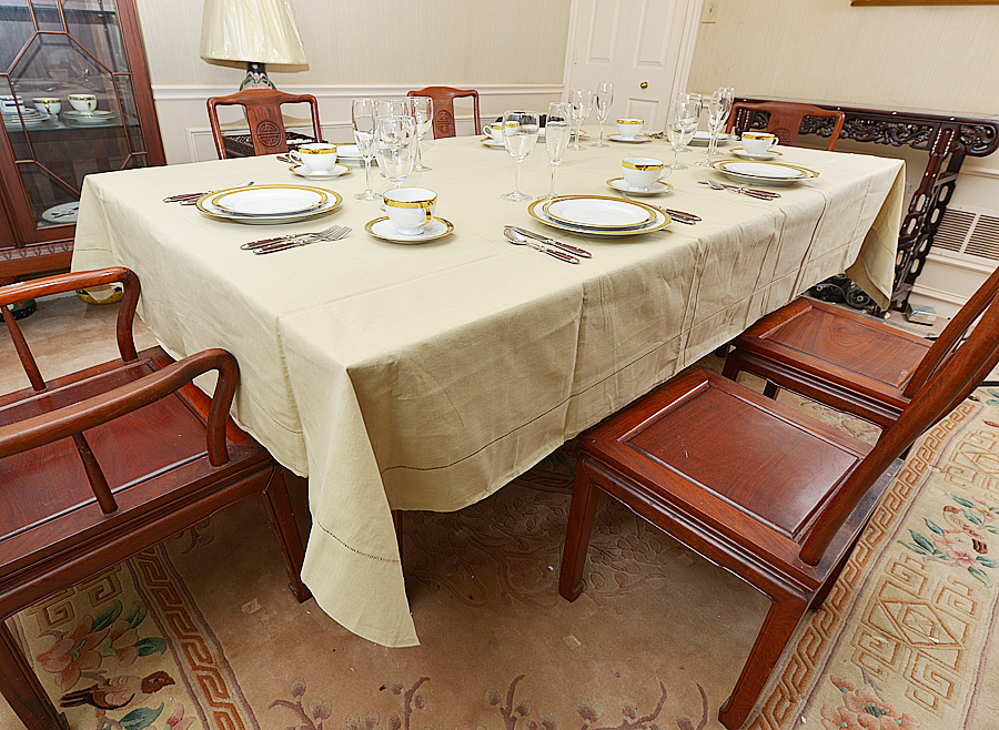 Festive Tablecloth for Dining room, rectangular tablecloth, safari color, taupe color.
