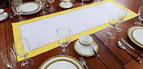 Lemon Chrome Border Hemstitch Table Runner