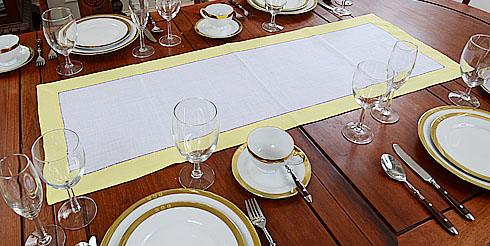 Lime Light Color Border Hemstitch Table Runner
