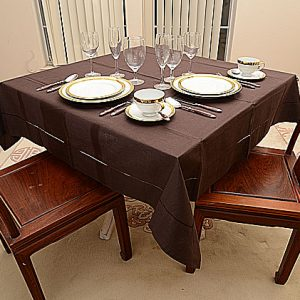 Chocolate All colored 54″square tablecloth.
