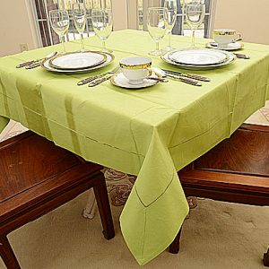 Macaw Green color. 54″ square tablecloth