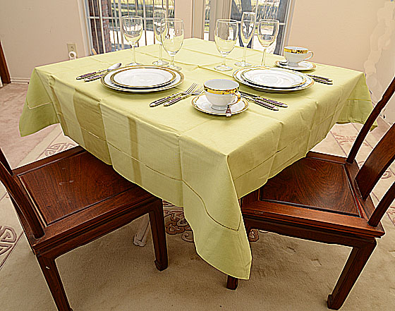 "Festive Mellow Green 54""square tablecloth"