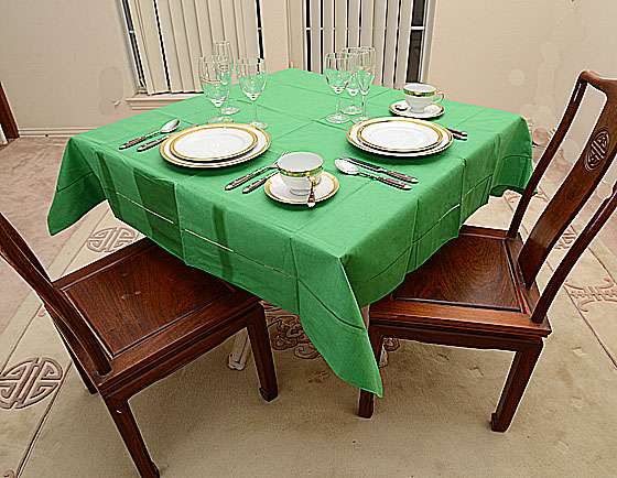 "Festive Mint Green 54""square tablecloth"