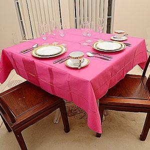 Raspberry Sorbet.  54″square tablecloth