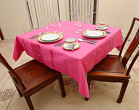 "Festive Raspberry Pink 54""square tablecloth"