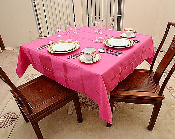 "Hemstitch Festive Raspberry Pink 54""square tablecloth"