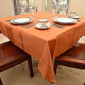 Burnt Orange color. 54″square tablecloth