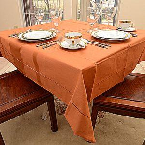 Burnt Orange color. 54″square tablecloth