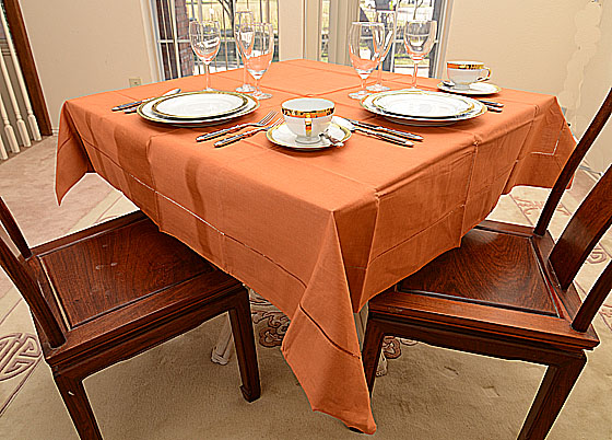 "Festive Burnt Orange 54""square tablecloth"