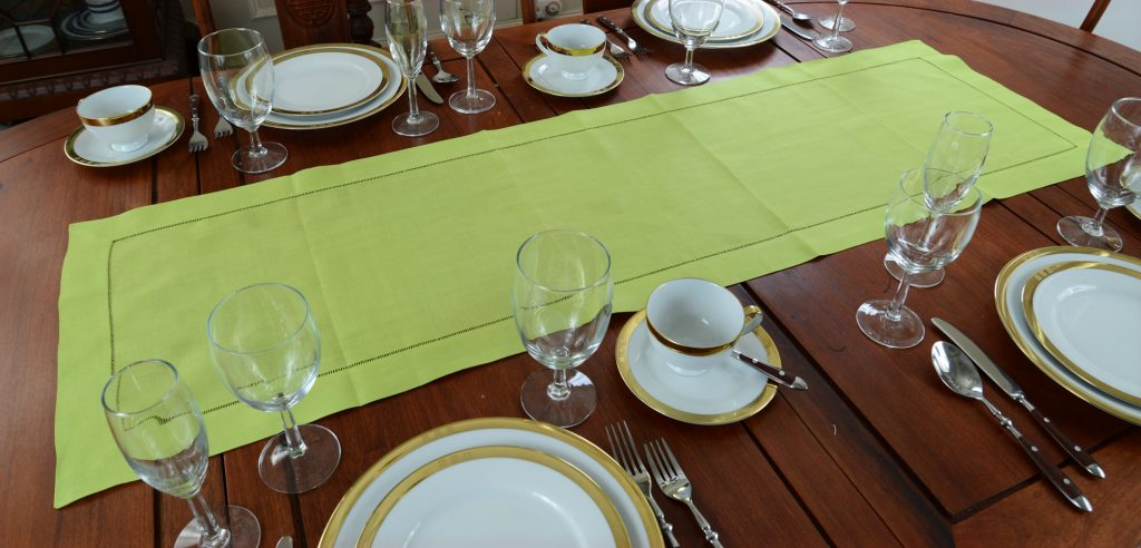 festive table runner. Macaw Green color