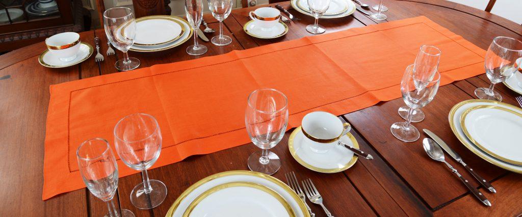 Festive flame orange color. table runner
