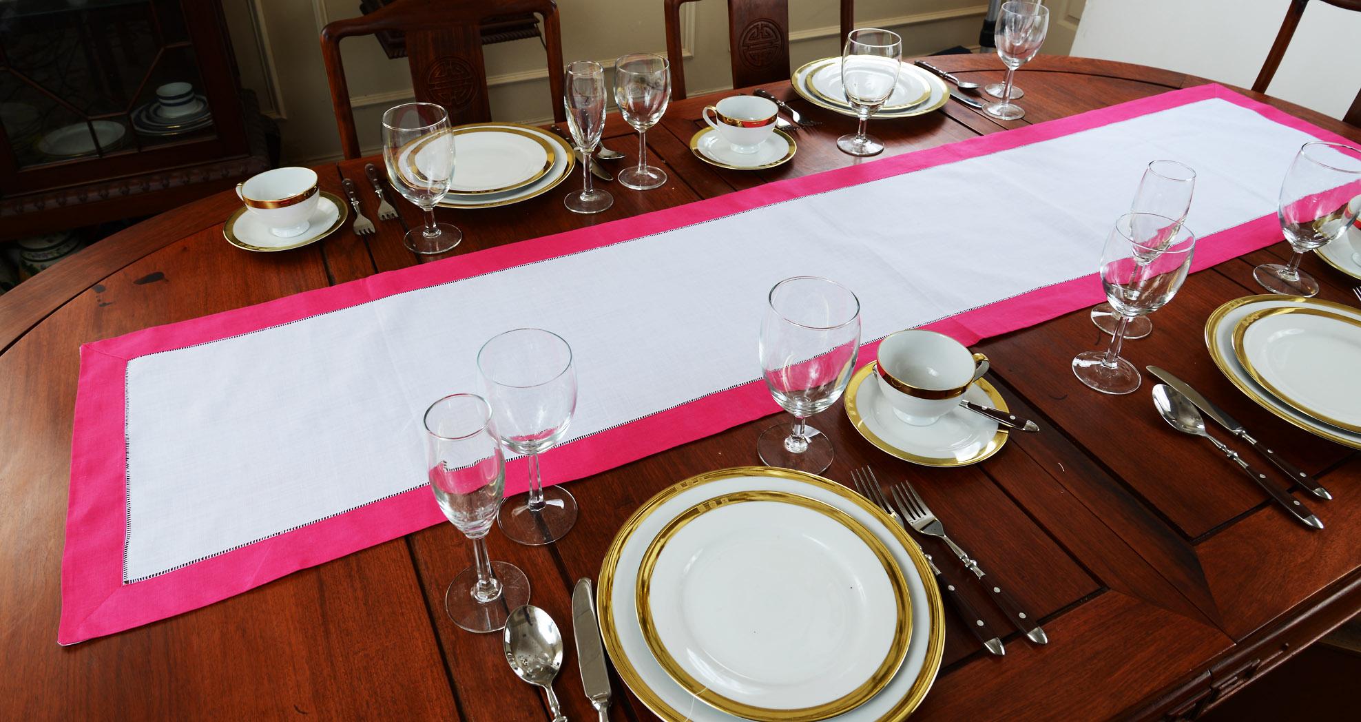 fuchsia Pink border Hemstittch Table Runner