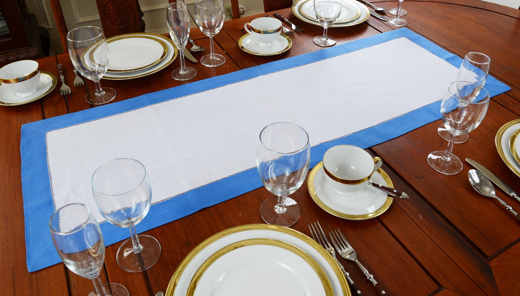French Blue Border Hemstitch Table Runner