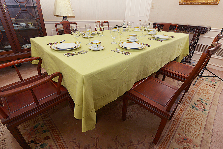 festive dining room tablecloth, tablecloth, celery green color