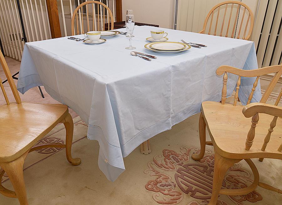 "Festive 90""square tablecloth, 90"" Square hemstitch, 90"" tableclotquareh, Baby Blue 90 Square"