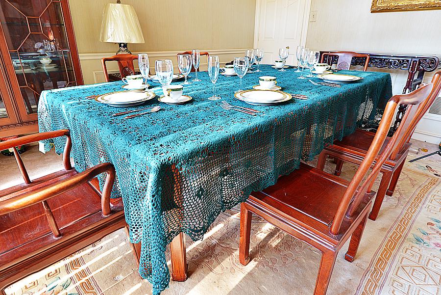 Festive Crochet Tablecloth. EveryGreen color