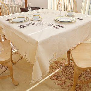 Pearl Colored. 70″SQ. Battenburg Tablecloth.