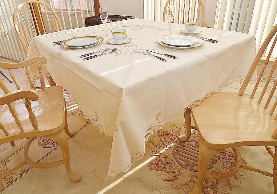 "Festive 70"" square tablecloth, Pearl color 70"" square. Square tablecloths,"